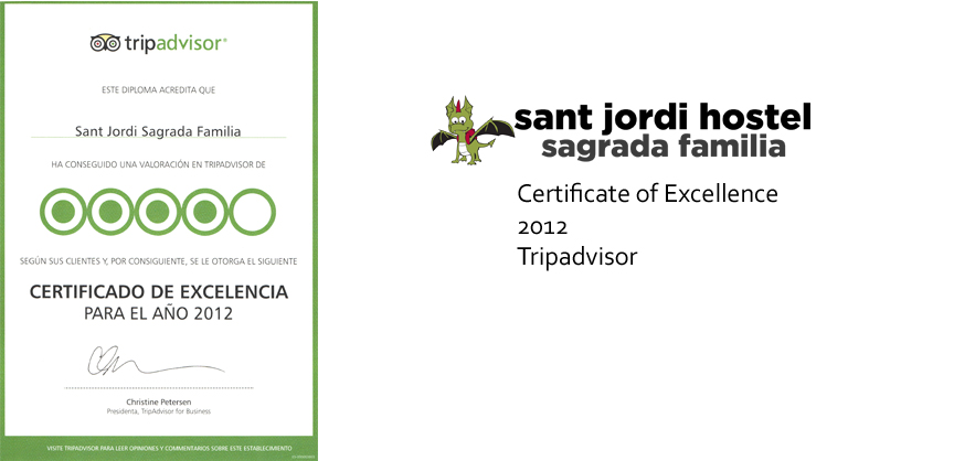 Barcelona Hostel Awards Sant Jordi Hostel Sagrada Familia Hostel Barcelona certificate of excellence 2012