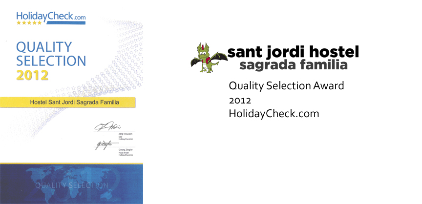 Barcelona Hostel Awards Sant Jordi Hostel Sagrada Familia Hostel Barcelona quality selection award 2012 holidaycheck.com