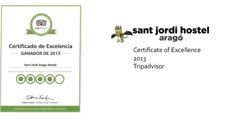 Barcelona Hostel Awards Sant Jordi Hostel Arago Hostel Barcelona certificate of excellence 2013