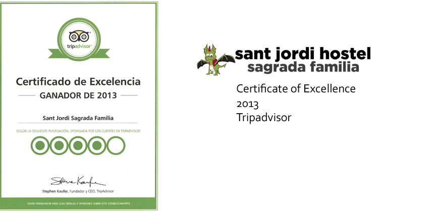 Barcelona Hostel Awards Sant Jordi Hostel Sagrada Familia Hostel Barcelona certificate of excellence 2013