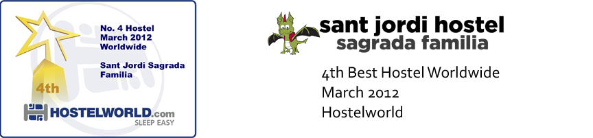Barcelona Hostel Awards Sant Jordi Hostel Sagrada Familia Hostel Barcelona 4th best hostel worldwide march 2012