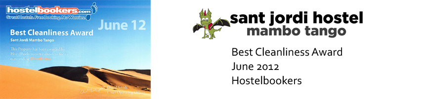 Barcelona Hostel Awards Sant Jordi Hostel Mambo Tango Hostel Barcelona best cleanliness award june 2012
