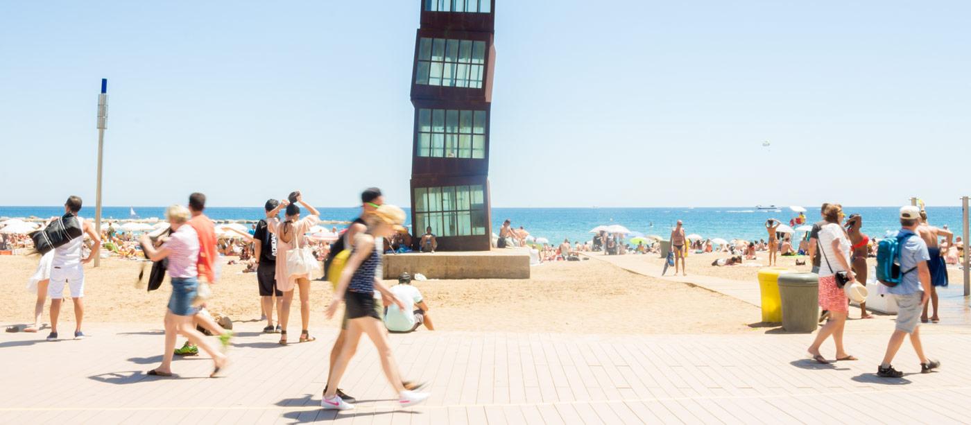 boardwalk on beach in barcelona