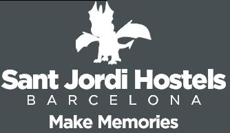 sant jordi hostels white logo - make memories