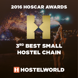 HOSCAR awards 2016 3rd best small hostel chain worldwide