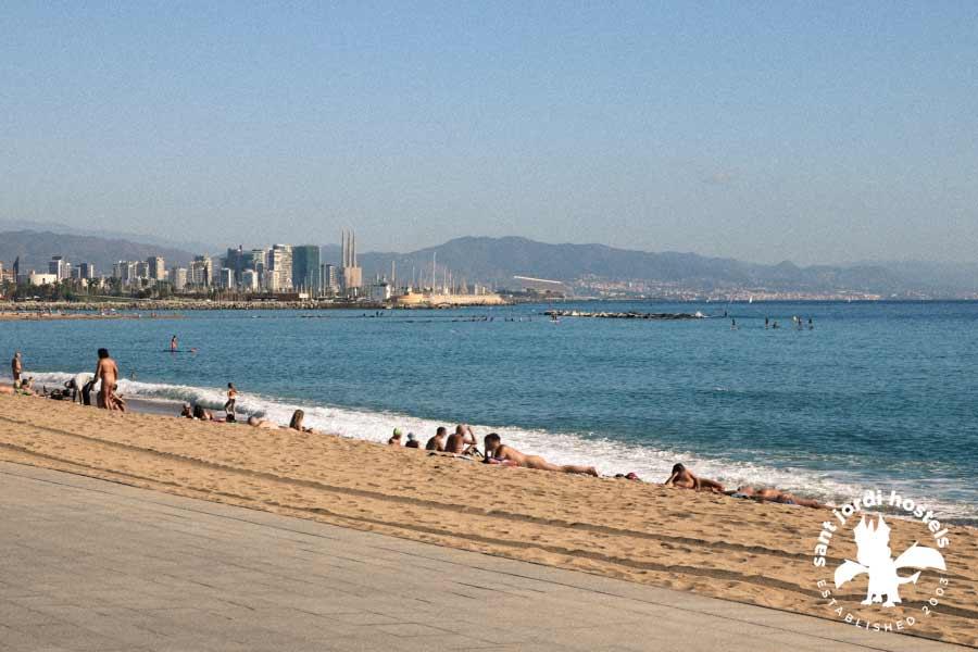 Naked girls on beach of barcelona think