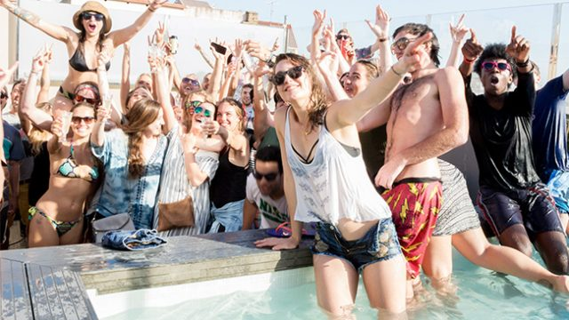 barcelona roof-top pool party at rock palace hostel in barcelona
