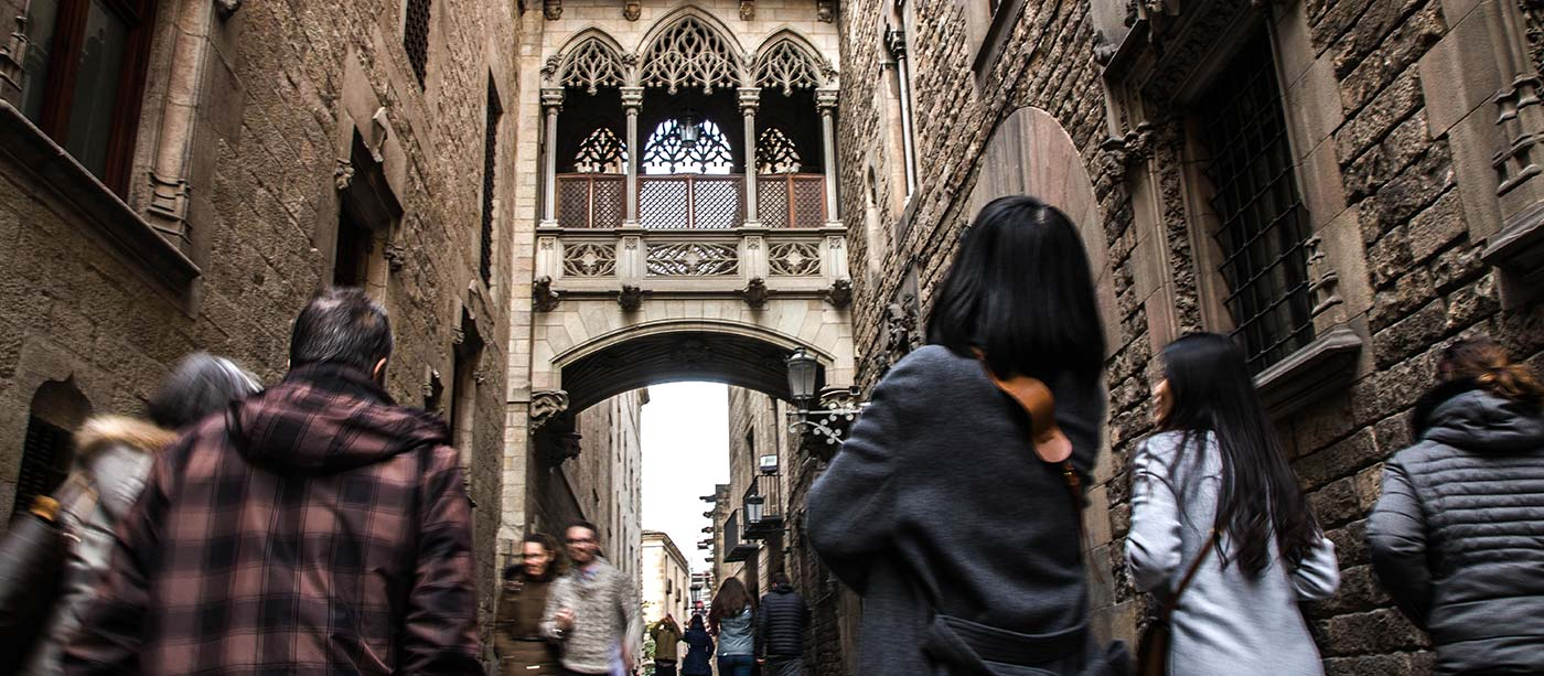 the gothic quarter barcelona - bishops bridge