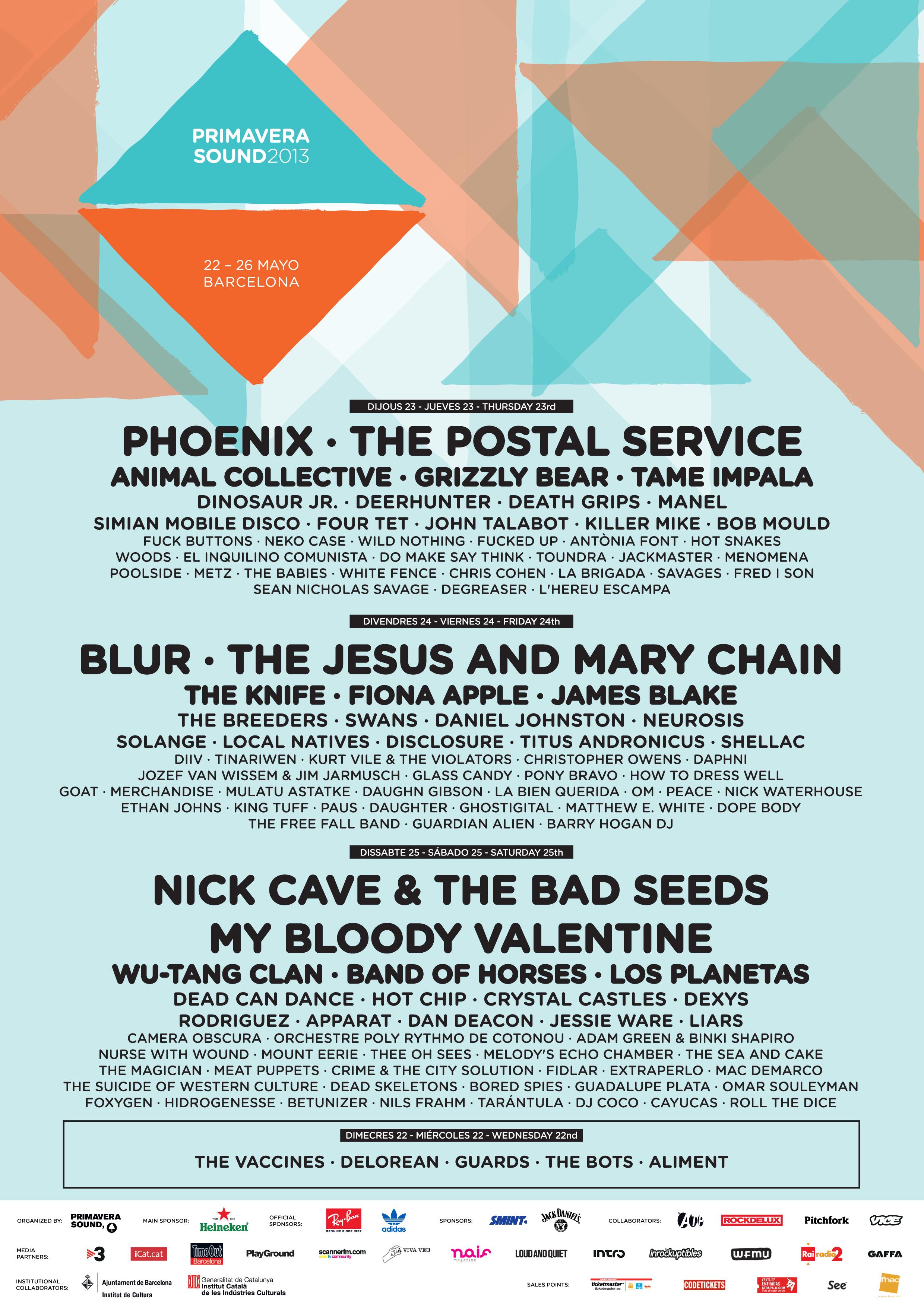 Primavera Sound 2013 line-up