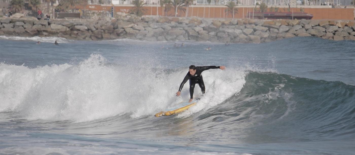 pet bottle surfboard - catching a wave