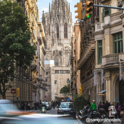 Barcelona Cathedral seen from Via Layetana